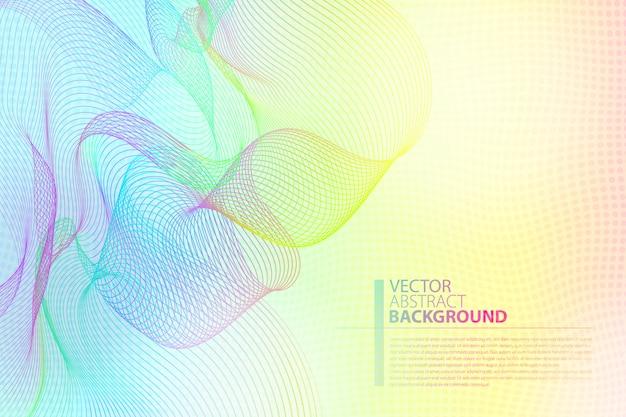 Bunter hintergrund der linearen kunst des vektors. helle lineare wellenlinien der hellen farben für hintergrund.