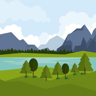 Bunter hintergrund der naturlandschaft mit bergen und fluss