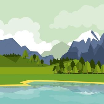 Bunter hintergrund der naturlandschaft mit bergen und see