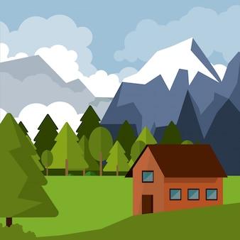 Bunter hintergrund der naturlandschaft mit landhaus und bergen