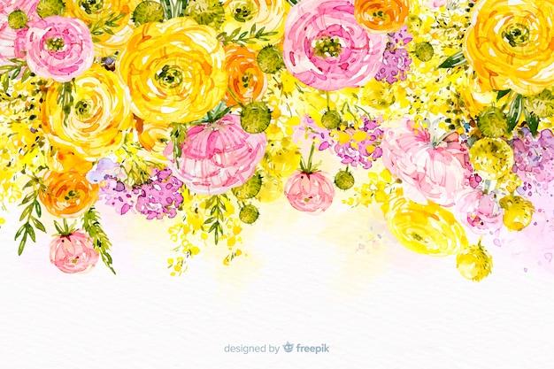 Bunter hintergrund der schönen blumen des aquarells