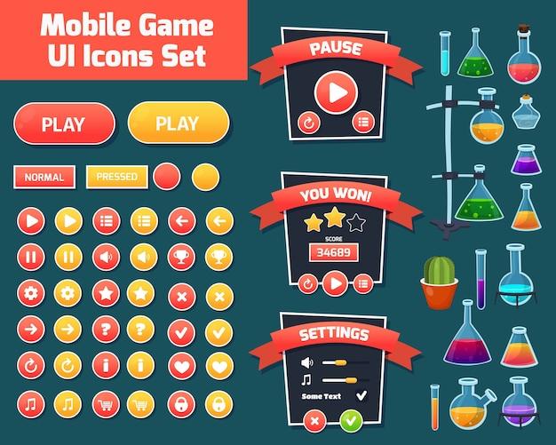 Bunter hintergrund der spielbenutzeroberfläche. illustration des chemie- und wissenschaftskonzepts. benutzeroberfläche für computerspiele und web mit menü, schaltflächen, level und anderen spielelementen.