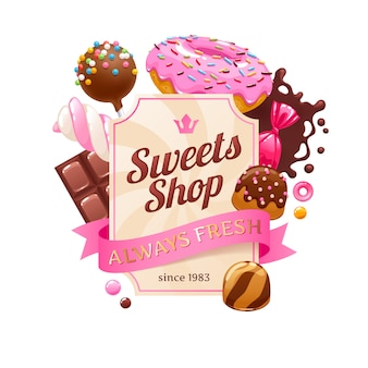 Bunter hintergrund der süßigkeiten und süßigkeiten.