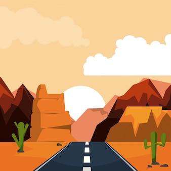 Bunter hintergrund der wüstensonnenunterganglandschaft mit tal und bergen und landstraße