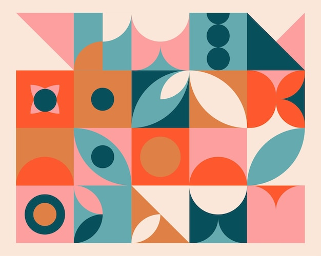 Bunter hintergrund des abstrakten geometrischen wandgemäldes im bauhausstil.