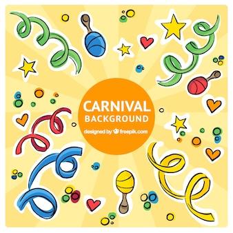 Bunter hintergrund mit maracas und streamer für karneval