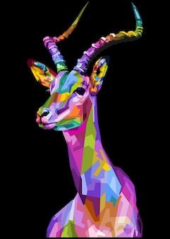 Bunter impala auf geometrischem pop-art-stil