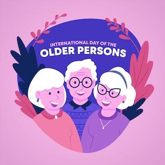 Bunter internationaler tag der älteren personenillustration