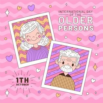 Bunter internationaler tag des älteren personenhintergrundes