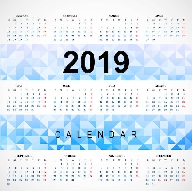Bunter kalender 2019 mit polygonschablonenvektor