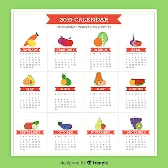 Bunter kalender von gemüse und früchten der saison