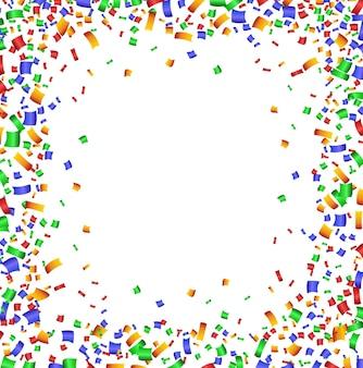 Bunter konfettirahmen auf weißem hintergrund