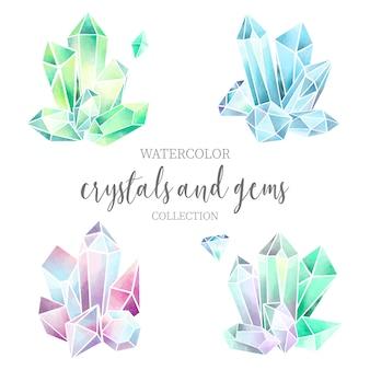 Bunter kristall und edelstein-aquarell-satz