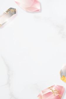 Bunter kristallrahmenentwurf auf marmorhintergrund