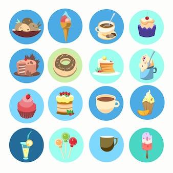 Bunter kuchen-sammlungs-süßspeise-nahrungsmittelikonen-satz