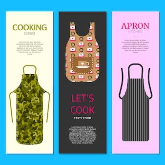 Bunter küchenschürzen-satzfahnenillustration. schutzkleidung. kochkleid für hausfrau oder küchenchef. kokswissenschaft. lass uns leckeres essen kochen. kleidung.