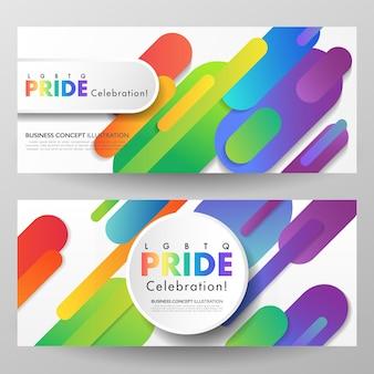 Bunter lgbtq-stolzfeier-satz von zwei mit abstraktem regenbogen