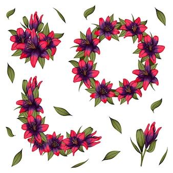 Bunter lilienblumenkranz mit blättern, satz blühender blumen für ihr design.
