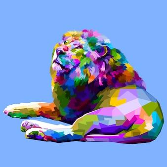 Bunter löwe, der sich oben gegenüberstellt liegt