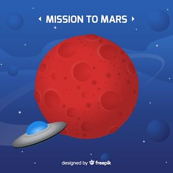 Bunter Mars-Hintergrund mit flachem Design