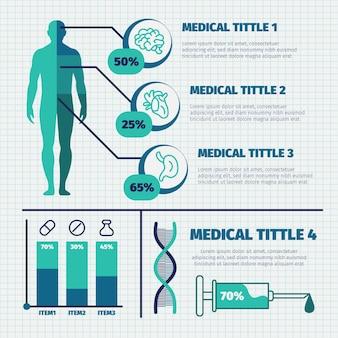 Bunter medizinischer infographic satz