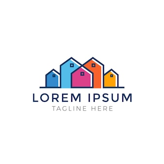 Bunter mehrfarbiger real estate logo design