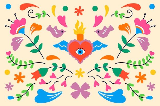 Bunter mexikanischer hintergrund des flachen designs