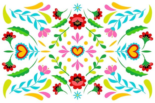 Bunter mexikanischer hintergrund im flachen design