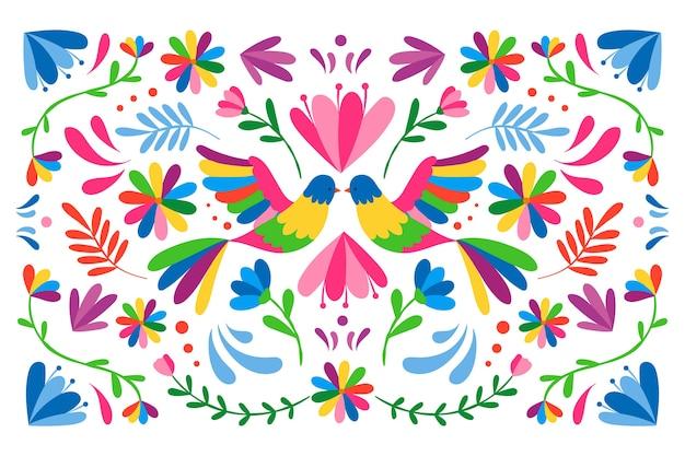Bunter mexikanischer hintergrund mit vögeln