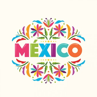 Bunter mexikanischer stempel. textile stickerei stil von tenango, hidalgo; méxico - copy space blumenkomposition