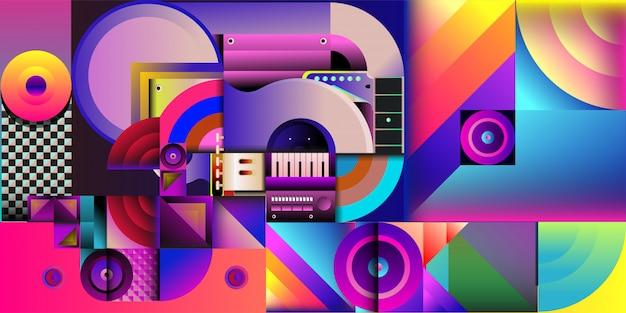 Bunter musikhintergrund der vektorillustration