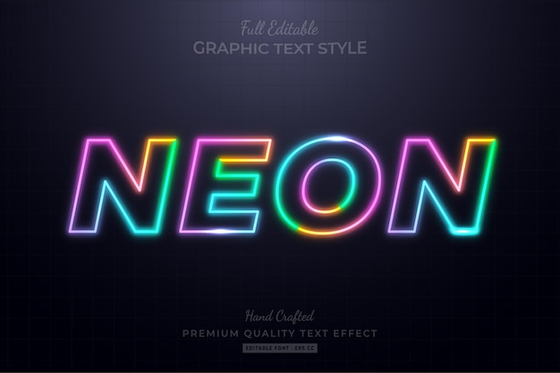 Bunter neon bearbeitbarer texteffekt-schriftstil
