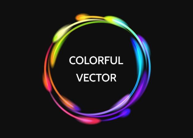 Bunter neonkreislichteffekt lokalisiert auf schwarz