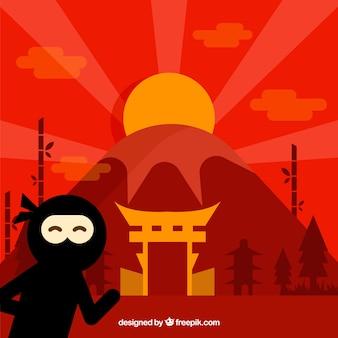 Bunter ninja-kriegershintergrund mit flachem design