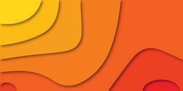 Bunter orange hintergrund mit mehrfarbigen formen im papierstil.