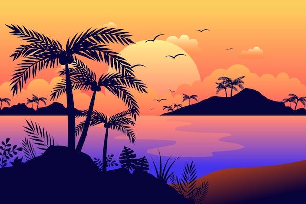 Bunter palmenschattenbildhintergrund Kostenlosen Vektoren
