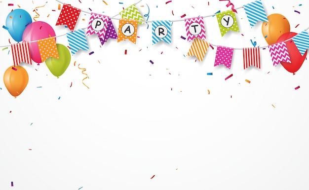 Bunter partyballon mit flaggenmarkierungsfahnen und confettihintergrund
