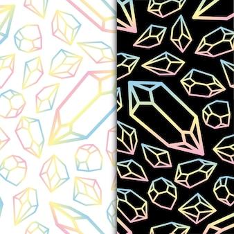 Bunter pastellfarbener geometrischer kristalldiamant-edelstein und schmucksteine premium-vektor