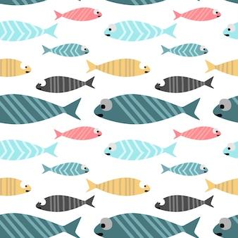 Bunter Pastellfarbenhintergrund des Babyfisches nahtlosen Musters