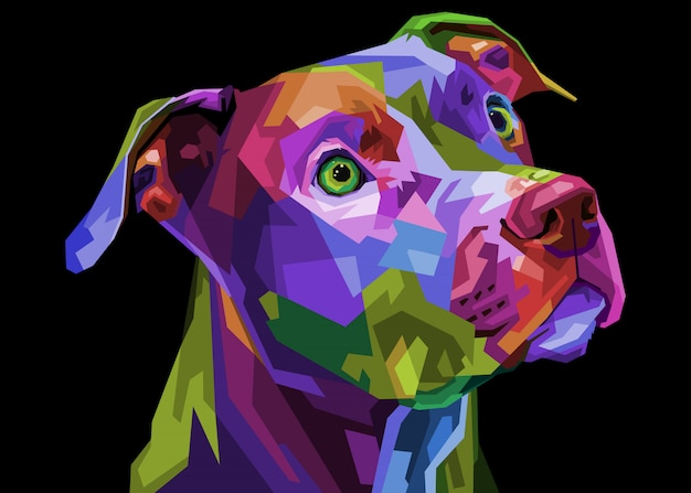 Bunter pitbull-terrier-hund auf geometrischer pop-art. illustration