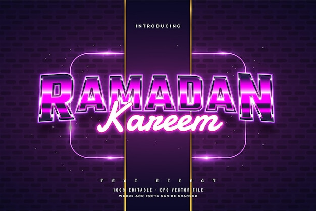 Bunter ramadan kareem texteffekt im retro- und modernen stil mit glanz- und neoneffekt