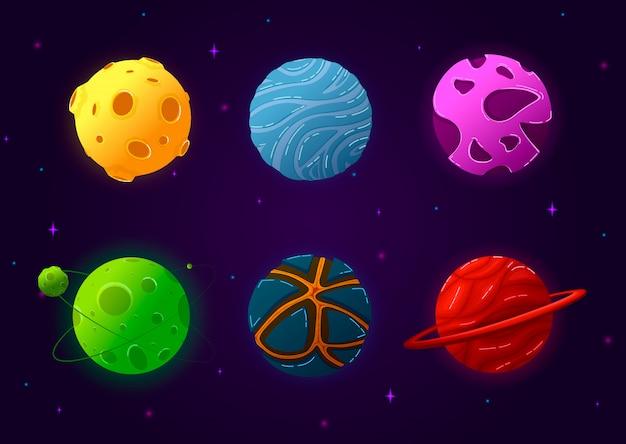 Bunter raumelementsatz mit kometen und sonnensystem. planeten in karikaturart lokalisierter vektorillustration