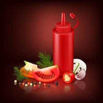 Bunter realistischer hintergrund mit roter plastikflasche