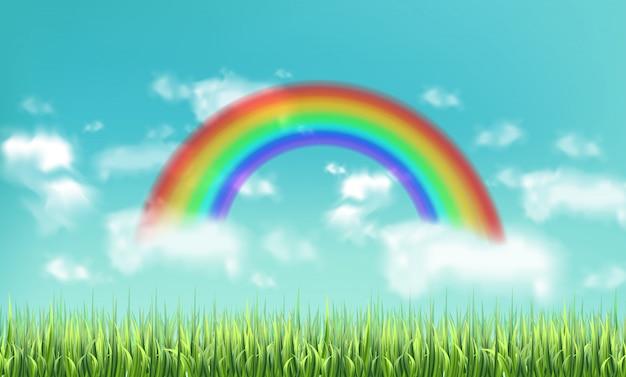 Bunter regenbogen auf himmelhintergrund