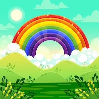 Bunter regenbogen im flachen design