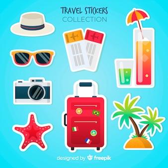 Bunter reiseaufklebersatz