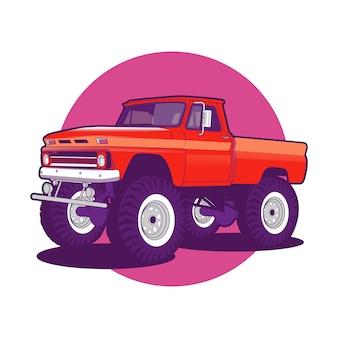 Bunter roter monster-lkw-auto-hintergrund