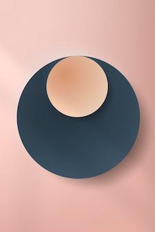Bunter runder papierschnitt mit schlagschatten auf blassrosa hintergrund