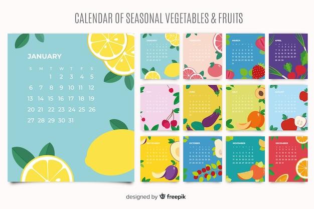 Bunter saisonaler gemüse- und obstkalender