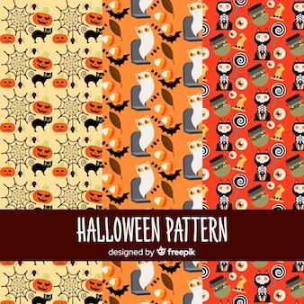 Bunter satz halloween-muster mit flachem design